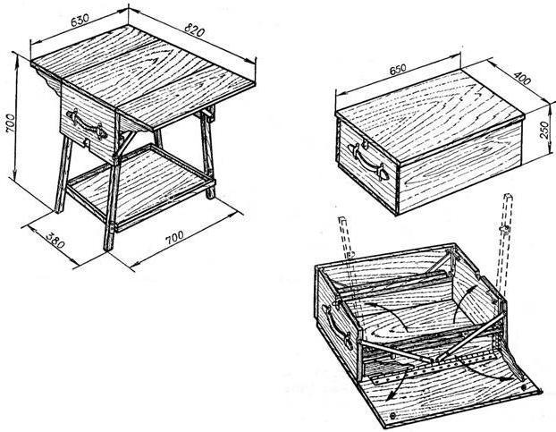 Чертеж раскладного стола для пикника из дерева своими руками 48