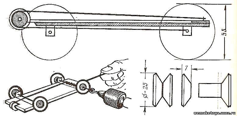 Машинка на резиномоторе своими