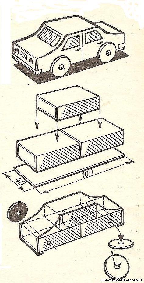 Поделка с спичечных коробков машинка
