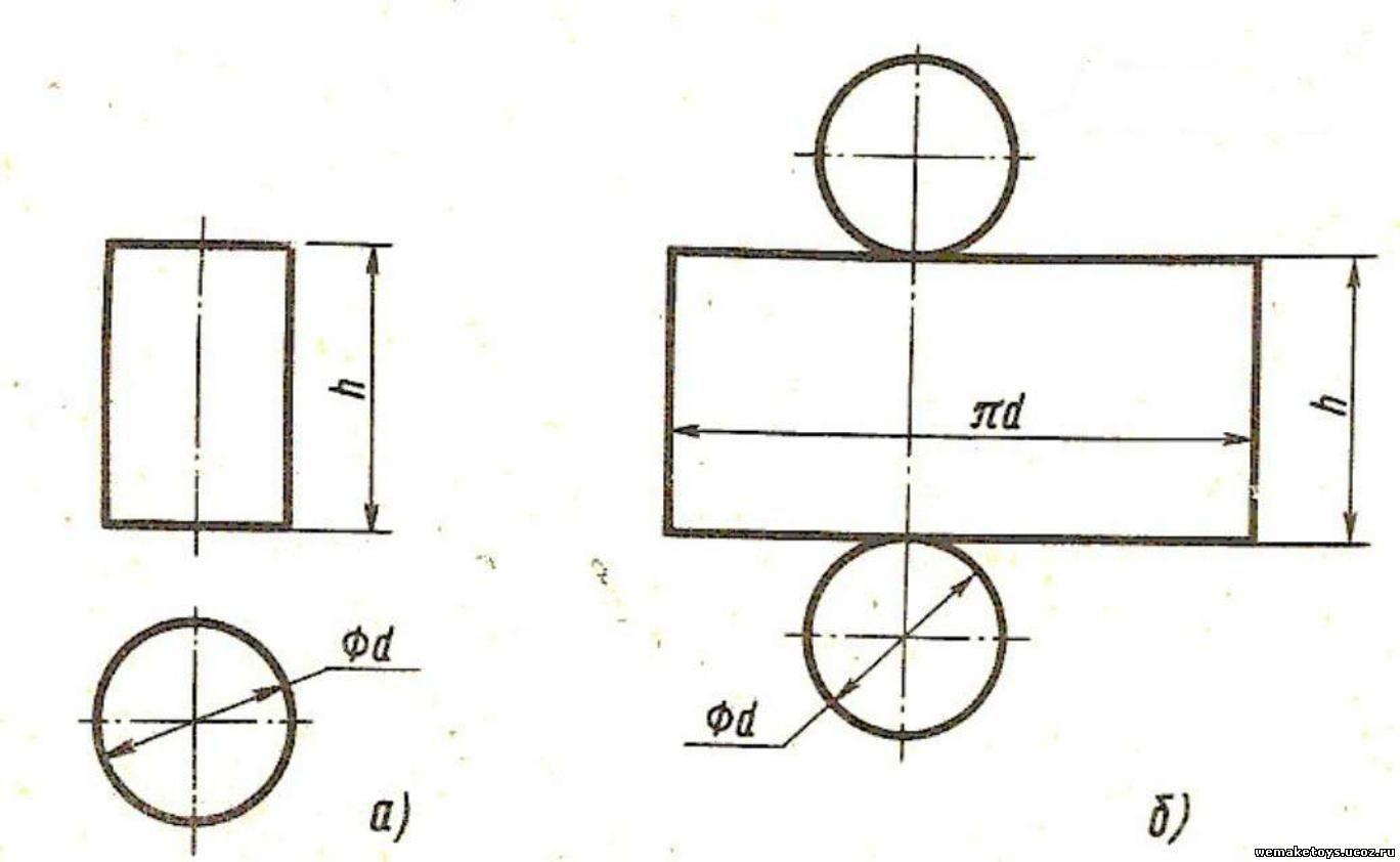 Схема цилиндра из бумаги